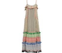Tasseled Embroidered Cotton-jacquard Maxi Dress Multicolor