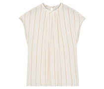Tyanna Gathered Striped Voile Top Pastel Pink