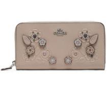 Embellished embossed leather wallet