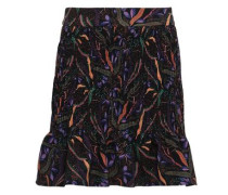 Printed Stretch-crepe Mini Skirt Black