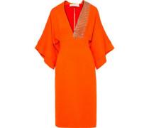 Embellished Draped Cady Dress Orange