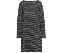 Striped French Cotton-blend Terry Dress Charcoal