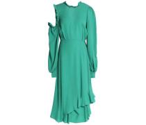Cagliari cutout ruffle-trimmed silk-crepe dress