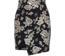 Woman Wrap-effect Brocade Mini Skirt Black
