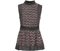 Metallic Pointelle-knit Peplum Top Blush