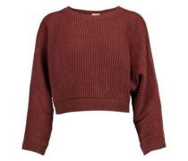 Cropped metallic ribbed-knit cashmere-blend sweater