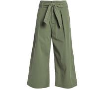 Ellie Cotton-blend Twill Culottes Army Green