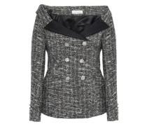 Off-the-shoulder Metallic Bouclé-tweed Jacket Black