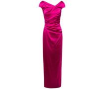 Woman Roya Ruched Duchesse Satin Dress Fuchsia