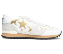 Woman Studded Metallic Printed Canvas And Suede Sneakers White