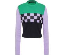 Color-block Intarsia Cotton-blend Sweater Lilac