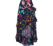 Sasha asymmetric ruffle-trimmed devoré-chiffon skirt
