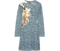Appliquéd Cotton-blend Corded Lace Mini Dress Light Blue