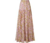 Floral-print Silk-chiffon Maxi Skirt Lilac