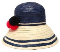Pompom-embellished two-tone straw hat