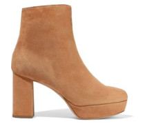 Shearling-lined Suede Platform Ankle Boots Camel