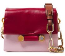 Color-block Leather Shoulder Bag Claret Size --