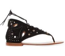 Embellished nubuck sandals