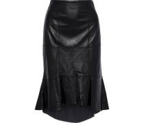 Kina Ruffled Leather Skirt Black