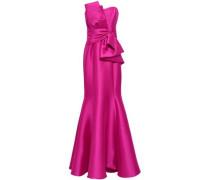 Strapless Knotted Duchesse-satin Gown Magenta