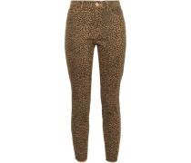 Leopard-print Mid-rise Skinny Jeans Mustard  5