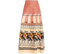 Printed cotton-blend faille maxi skirt
