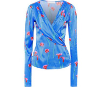 Berdine Wrap-effect Floral-print  Stretch-silk Satin Blouse Azure