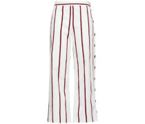 Button-detailed Striped Cotton-blend Twill Wide-leg Pants Off-white