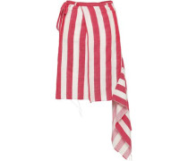 Striped Linen And Cotton-blend Mini Wrap Skirt Red