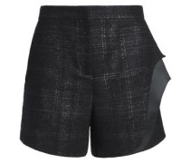 Layered checked wool-blend shorts