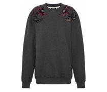 Embroidered cotton-fleece sweatshirt