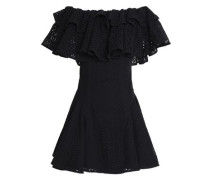Off-the-shoulder ruffled broderie anglaise mini dress