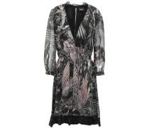 Wrap-effect Lace-trimmed Printed Silk-chiffon Dress Black