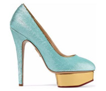 Dolly Scalloped Metallic Leather Platform Pumps Turquoise
