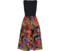 Flared Washed-crepe And Fil Coupé Georgette Dress Black