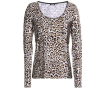 Leopard-print stretch-cotton jersey top