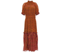 Woman Shirred Gathered Printed Silk-georgette Midi Dress Orange