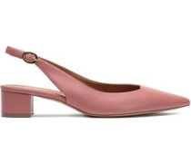 Metallic Leather Slingback Pumps Antique Rose