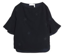 Embroidered crepe top