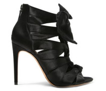 Layla Knotted Satin Sandals Black
