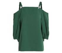 Cold-shoulder crepe blouse