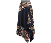 Asymmetric Printed Hammered-silk Maxi Skirt Navy