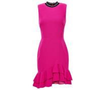 Woman Ruffled Crepe Mini Dress Magenta