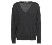 Mélange Wool, Silk And Cashmere-blend Sweater Dark Gray