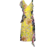 Rana Ruffled Floral-print Silk Crepe De Chine Midi Dress Bright Yellow