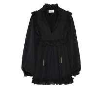 Ruffle-trimmed Striped Silk-georgette Blouse Black Size 0