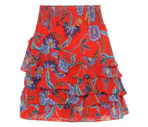 Lila Tiered Floral-print Crepe De Chine Mini Skirt Red