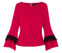 Lace-trimmed Wool-crepe Top Crimson  0