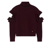 Ruffle-trimmed cutout ribbed wool-blend sweater