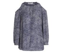Cold-shoulder Printed Silk-crepe Blouse Navy Size 0